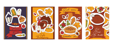 Thanksgiving food vector traditional turkey on holiday dinner in autumn backdrop celebration sticker decoration with pumpkin pie background illustration set banner.
