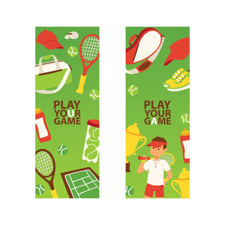 Tennis vector seamless pattern player man character playing tennis-ball sportswear on court backdrop competition signs tennis-racket tennis-court illustration set background banner