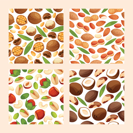 Nut vector seamless pattern nutshell of hazelnut or walnut and almond nuts backdrop set nutrition with cashew peanut and chestnuts nutmeg illustration background.  イラスト・ベクター素材