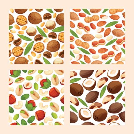 Nut vector seamless pattern nutshell of hazelnut or walnut and almond nuts backdrop set nutrition with cashew peanut and chestnuts nutmeg illustration background. Stock Illustratie