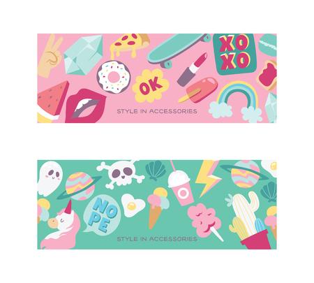 Cartoon vector girlish accessories lipstick icecream kids unicorn rainbow and doghnut illustration colorful set of backdrop girlie background