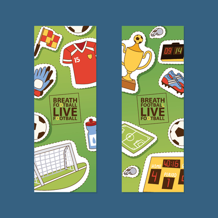 Soccer vector soccerball sticker football pitch and sportswear of footballer or soccerplayer illustration backdrop set of footballing clothes wallpaper trophy cup background. Banque d'images - 125089244