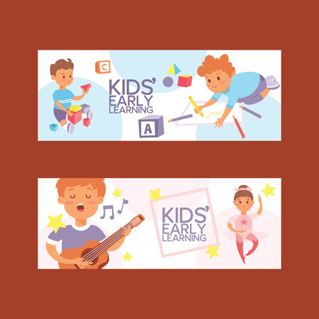 Kids vector cartoon girl boy characters children dancing or playing music on guitar and playing blocks backdrop illustration set background. Illustration