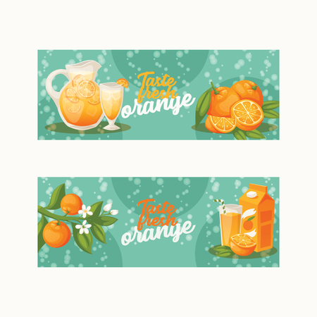 Citrus vector fresh orange fruit backdrop tropical juicy drinks in jar and organic food badge illustration set background fruity banner with orange-tree leaves.