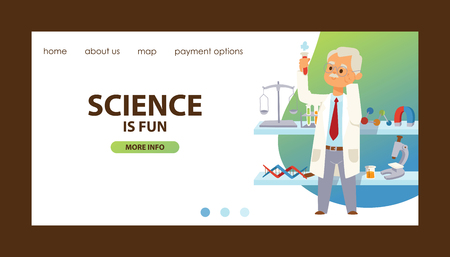 Chemistry vector chemical science landing page pharmacy scientist research in school laboratory web-page backdrop illustration set of background lab scientific equipment microscope banner.