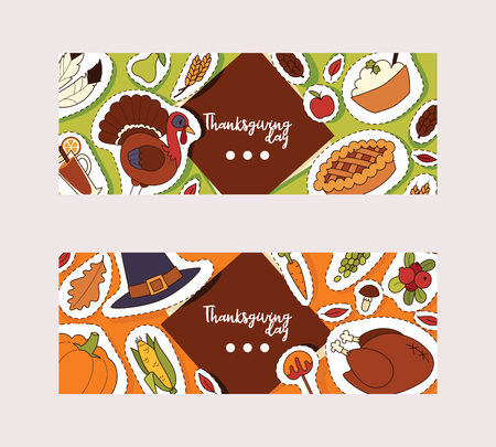 Thanksgiving food vector traditional turkey on holiday dinner in autumn backdrop celebration sticker decoration with pumpkin pie background illustration set banner