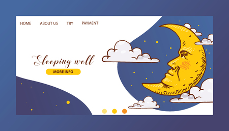 Cartoon moon vector landing page moonlight star character in night sky illustration web-page background childish yellow moony cloud set web-site backdrop moonlit bedtime banner.