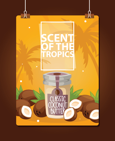Coconut vector tropical organic food nutrition exotic drink in glass jar on beach backdrop nuts butter illustration background coco-palm on banner