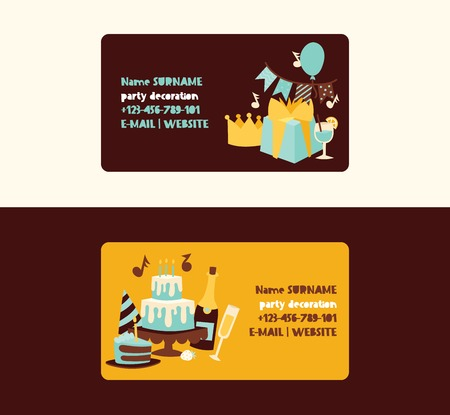 Birthday party vector anniversary business card design cartoon kids happy birth cake or cupcake celebration with gifts and birthday balloons business-card backdrop illustration background.