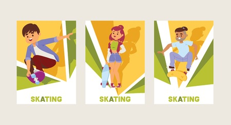 Skateboarders on skateboard vector skateboarding boy or girl characters backdrop teenager skaters jumping on board in skatepark illustration set of people skating background.