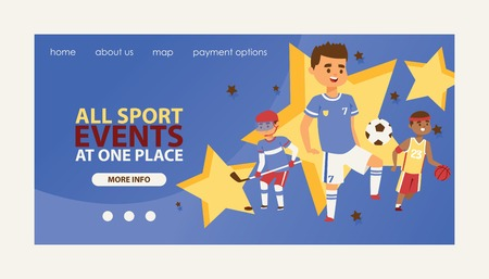 Child in sport vector web page boy or girl character playing hockey baseball and children in soccer basketball illustration backdrop kids sportive event background landing web-page.
