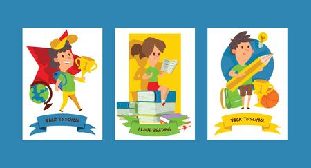 Fournitures scolaires vecteur garçon fille caractère enfants éducation scolarisation accessoire pour écoliers toile de fond enfants étudiant en illustration de classe ensemble de bannière de fond de papeterie éducative Vecteurs