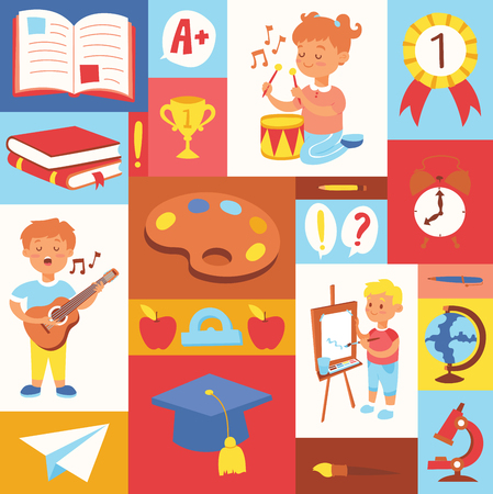 Kids vector cartoon girl boy characters children playing music on guitar and kids painting studying at school backdrop illustration set background