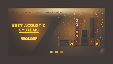 Sound system vector web landing page audio acoustic equipment stereo technology for playback dj music sound-record with headphones backdrop illustration electronic bass studio background web-page. Ilustração