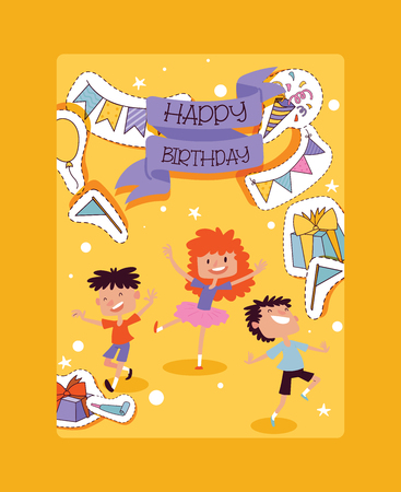 Birthday party pattern vector children characters and anniversary cartoon kids happy birth celebration with gifts and birthday balloons flags sticker backdrop illustration background. Ilustrace