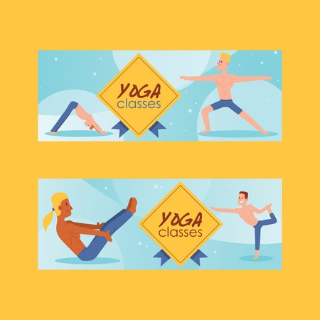 Yoga vector people yogi character training flexible exercise pose on yoga-classes illustration backdrop healthy man lifestyle workout with meditation balance relaxation background. Иллюстрация