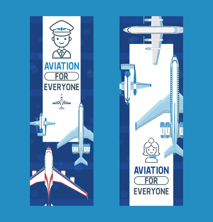 Plane vector aircraft airplane jet flight transportation flying to airport illustration aviation backdrop set of aeroplane airliner and airfreighter cargo banner background