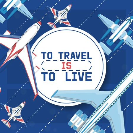 Plane vector traveling on aircraft airplane jet flight transportation flying to airport illustration aviation backdrop of aeroplane airliner and airfreighter cargo banner background. Çizim