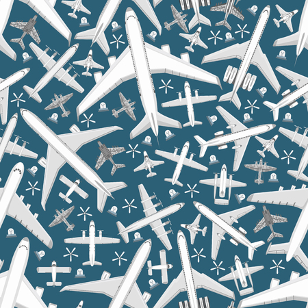Plane seamless pattern vector aircraft airplane jet flight transportation flying to airport illustration aviation backdrop of aeroplane airliner and airfreighter cargo background.