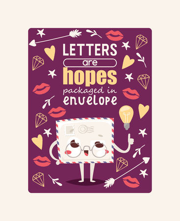 Mail envelope vector mailed post emoticon mailing lovely message letter kawaii email character with lips heart star backdrop illustration background poster.