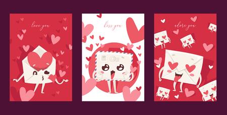 Lovely envelope vector loving mail loved hearted mailed post emoticon mailing love message letter kissing kawaii email character backdrop illustration emailing set background banner.