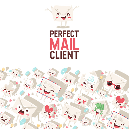 Mail envelope vector mailed post emoticon mailing lovely message letter kawaii email character backdrop emailing illustration smiling mail client background banner.