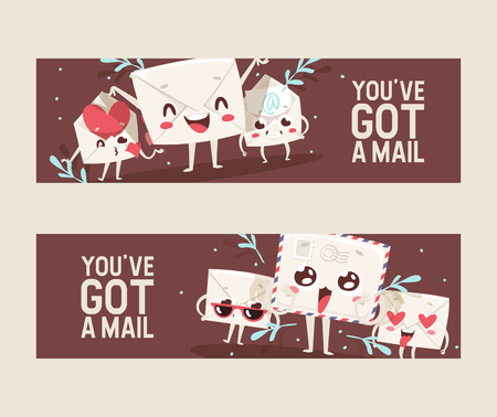 Mail envelope vector mailed post emoticon mailing lovely message letter kawaii email character backdrop illustration emailing set background banner.  イラスト・ベクター素材