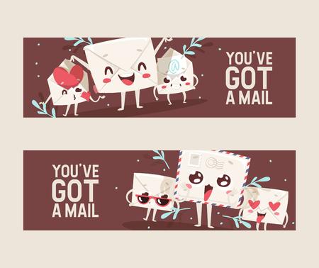 Mail envelope vector mailed post emoticon mailing lovely message letter kawaii email character backdrop illustration emailing set background banner. Illustration