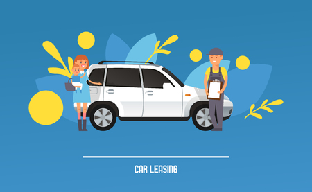 Dream car vector woman character dreaming automobile vehicle transportation design backdrop illustration of people buying auto transport purchase wallpaper background. Standard-Bild - 124875398