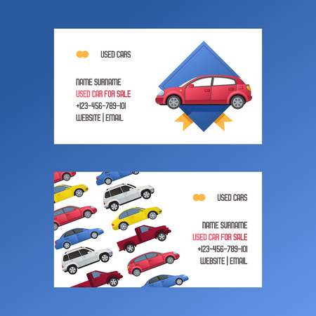 Car vector business card rental van auto vehicle minivan and automobile citycar on dealership business-card to rent background illustration commercial retail backdrop. 일러스트