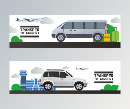 Vector de transferencia de aeropuerto viajando en avión en el transporte de la terminal de salida del aeropuerto en taxi coche ilustración telón de fondo conjunto de pasajeros transporte autobús van fondo.