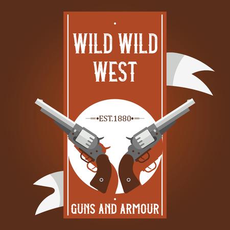 Pistols vector western gun cowboys retro revolver backdrop illustration wildlife cartoon wildwest sheriffs handgun background banner