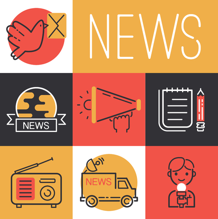 News icons vector journalist man character with microphone for TV interview on broadcasting van backdrop illustration set of journalism occupation correspondent set background.