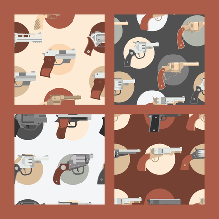Pistols vector seamless pattern western gun cowboys retro revolver backdrop illustration wildlife cartoon wildwest sheriffs handgun background banner set.