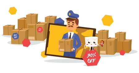 Postman vector mailman delivers mails in postbox or mailbox and post people character carries mailed letters in letterbox illustration backdrop postal delivery service background. Фото со стока - 124875407