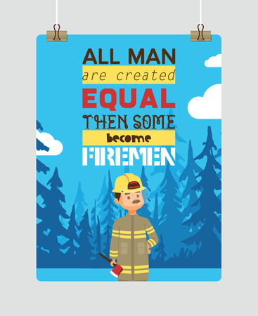 Firefighter vector cartoon fireman character firefighting fire with firehose hydrant and fire extinguisher equipment illustration backdrop man or woman in helmet background Stock Illustratie