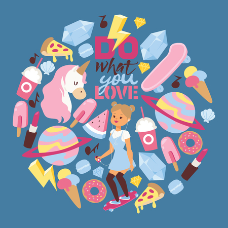 Skater vector pattern skating girl character and girlish accessories lipstick icecream kids unicorn rainbow doghnut backdrop illustration of cartoon colorful girlie youth background.