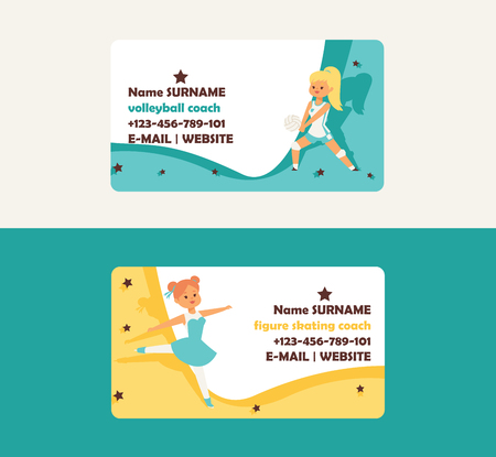 Child in sport vector business card girl character playing villeyball and children dancing illustration backdrop set of kids sportive activity business-card background. Illustration