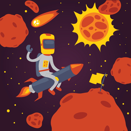Astronaut vector cosmonaut cartoon spaceman character in helmet flying on rocket in space cosmos backdrop universe galaxy adventure man among planets on spaceship illustration background Vector Illustration