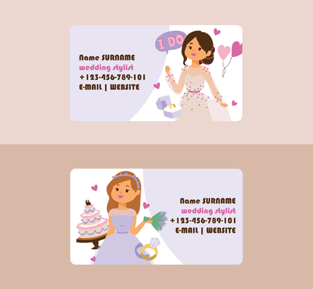 Wedding vector business card bridesmaid woman character in wedding dress wearing bridal dressing accessories illustration backdrop of bride girl celebrating marriage business-card background. Illustration