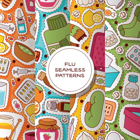 Flu seamless pattern vector sick character with fever and illness and sneezing nose illustration backdrop sticker set of sickness and medical treatment signs with medicines background. Ilustracja