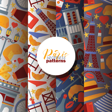 Paris vector seamless pattern french culture eiffel tower and triumphal illustration europe tourism city traveling in France backdrop set parisian cheese croissant background. Stock Vector - 124875414