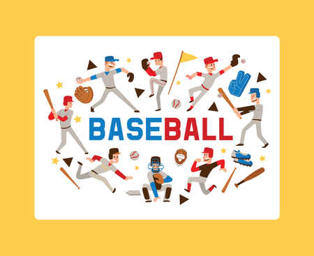 Baseball people vector player man character in catchers sportswear and batters baseballbat or ball for competition backdrop illustration sportsman boys with catchers glove background banner