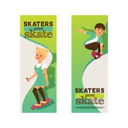 Skateboarders on skateboard vector skateboarding boy or girl characters backdrop teenager skaters jumping on board in skatepark illustration set of people skating background.