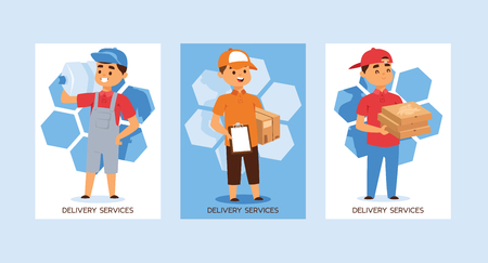 Courier vector postman man character of delivery service delivering parcel box package pizza illustration backdrop set of deliveryman person transporting bottle background. Çizim
