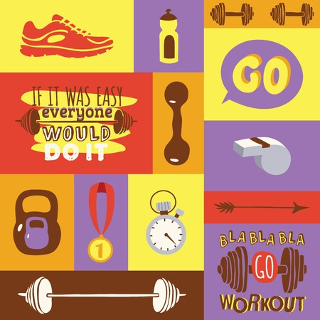 Dumbbell vector fitness gym weight equipment dumb-bells kettlebell medal sportive shoes illustration set of backdrop bodybuilding heavy barbell sport workout background. Illustration