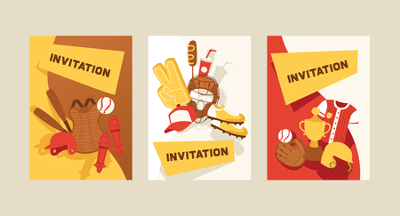 Baseball vector pattern catchers sportswear and batters baseballbat or ball for competition backdrop illustration sportsman clothes with catchers glove background banner invitation set 向量圖像
