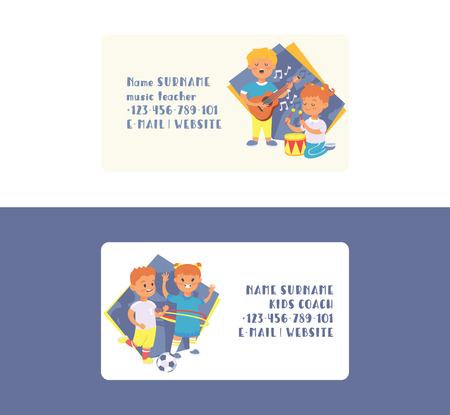 Kids vector business card cartoon girl boy characters children dancing or playing music on guitar and playing football backdrop illustration set business-card background.