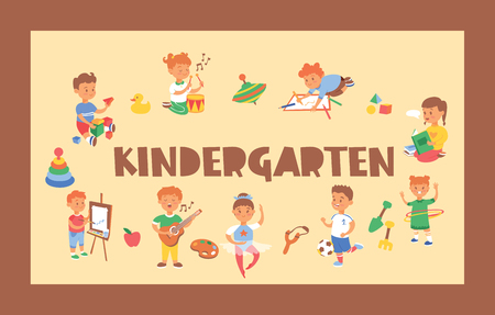 Kids vector cartoon girl boy characters children playing music on guitar and kids painting studying at kindergarten backdrop illustration childish playroom background Illustration