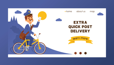 Postman vector landing web page mailman delivers mails in postbox or mailbox and post character mailed backdrop illustration postal delivery service web-page background.